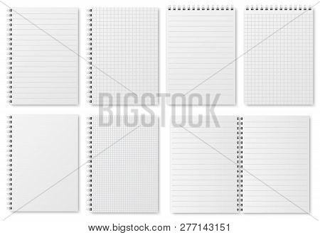 Notebook Paper Sheets. Sketchbook Blank Pages With Variety Of Lines And Dots. Notepad Vector Isolate