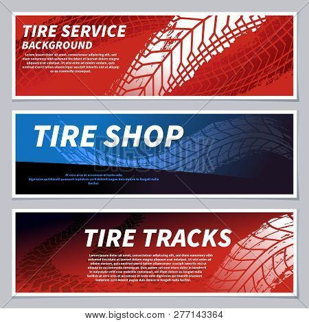 Tire Tread Tracks Banners. Motorcycle, Car And Race Bike Dirty Grunge Road Tire Prints. Tread Automo