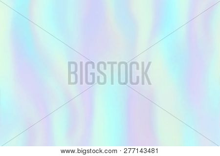 Rainbow Foil Texture. Iridescent Hologram, Beautiful Holography Colorful Trendy Fashion Vector Backg