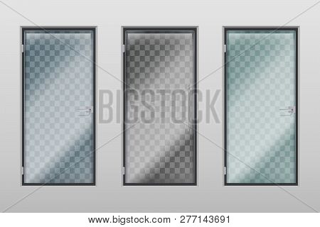 Glass Office Doors. Modern Interior Transparent Door With Handle And Lock. Vector Set Of Entrance Do