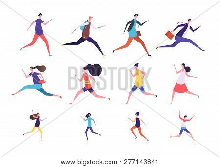 Running People. Flat Man And Woman, Business Persons And Kids Run. Flat Vector Runner Jogging Charac