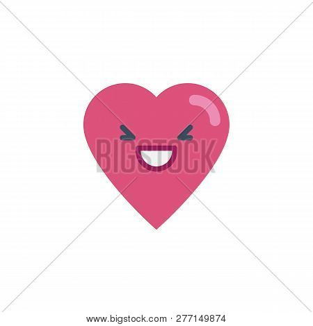 Grinning Heart Face Character Emoji Flat Icon, Vector Sign, Colorful Pictogram Isolated On White. Gr