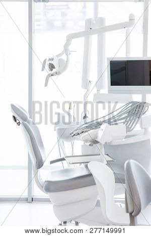 Dentist chair and equipment at dental clinic