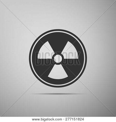 Radioactive Icon Isolated On Grey Background. Radioactive Toxic Symbol. Radiation Hazard Sign. Flat