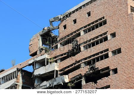 Belgrade, Serbia - August 15, 2012: War Destruction In Belgrade, Serbia. The Yugoslav Ministry Of De