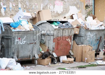Subotica, Serbia - August 12, 2012: Municipal Waste Dumpsters In Subotica, Serbia. As Of 2016 Only 1