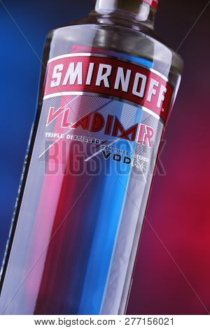 Bottle Of Smirnoff Red Label Vodka