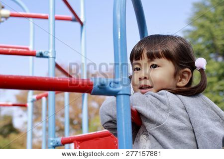 Japanese Girl On The Jungle Gym (4 Years Old)