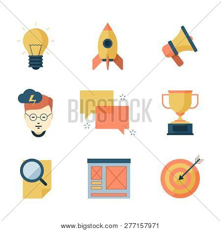 Seo Smm Business Icons. Brainstorming Communication Campaigns Marketing Strategy Vector Symbols Flat