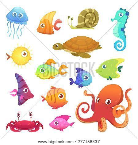Underwater Animals. Ocean Sea Animals Fish Octopus Turtle Seahorse Vector Characters. Sea Marine Fis