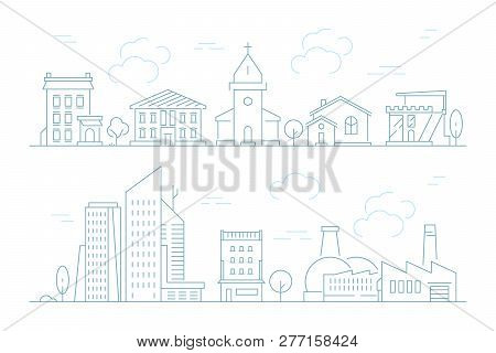 Urban Landscape Linear. Small Town With Buildings City Houses Exterior Vector Thin Line Pictures. Il