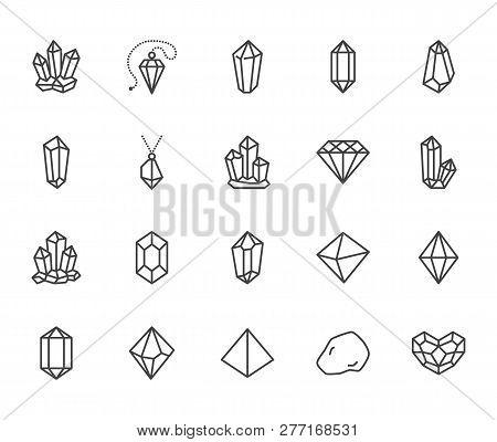 Crystals Flat Line Icons Set. Mineral Rock, Diamond Shape, Salt, Abstract Gemstone, Magic Crystal Ve