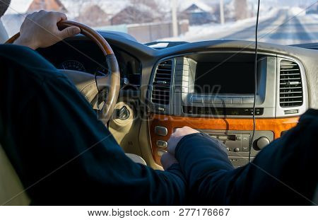 Touch Of Hands Of The Man And The Woman, Against Controls, The Monitor, The Panel Of The Car And The