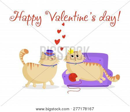 Happy Valentines Day Greeting Card With Cute Cartoon Cats Boy And Girl In Love. Male Cat In Top Hat