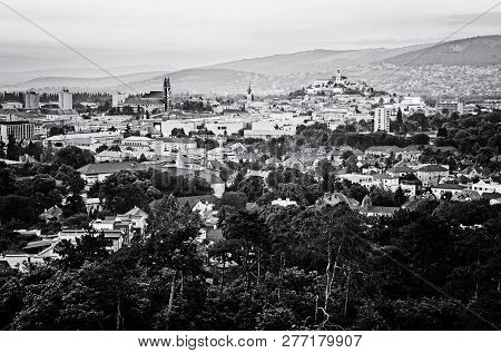 View Of The Nitra City, Slovak Republic, Europe. Evening Urban Scene. Night Time. Black And White Ph