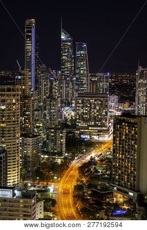 Gold Coast, Australia - November 24 2018: Surfers Paradise Nightscape Arial Views - Portrait