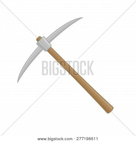 Wooden Pickaxe In Flat Style. The Pick Icon. Cartoon Iron Pickaxe For Extraction Of Precious Stones
