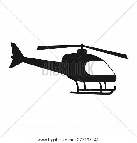 Helicopter Silhouette Icon Isolated Onwhite Background. Vector Stock.