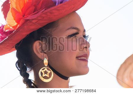 Granada, Nicaragua – February 15, 2017:  People Wearing Traditional Dress And Colorful Masks During