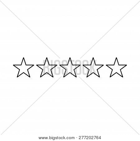 Five Stars Rating. Star Icon. Feedback Consumer Or Customer Review Evaluation Banner, Satisfaction L