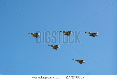 Doha, Qatar - Dec 14, 2018: Plains Dassault Rafale With Missiles Under Their Wings. The Festive Para