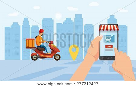 Online Delivery Service, Tracking Online Tracker. A Hand Holds A Smartphone, Buys Goods In An Online
