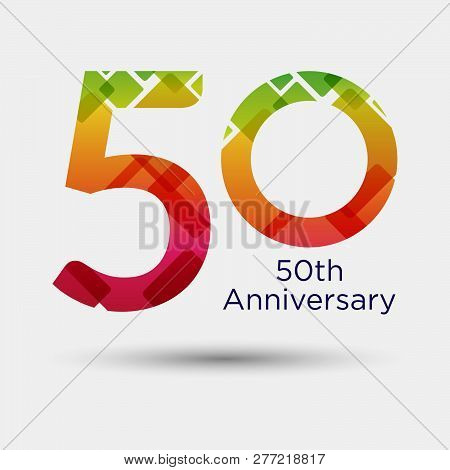 Logo Or Icon Anniversary With Colorful Modern Pattern. Flat Logo Concept. 50 Years Anniversary.