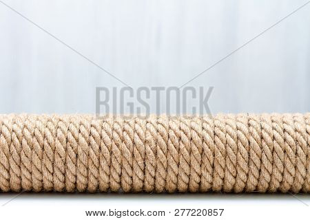 Sisal Rope Cat Scratcher On White Background. Copy Space For Text