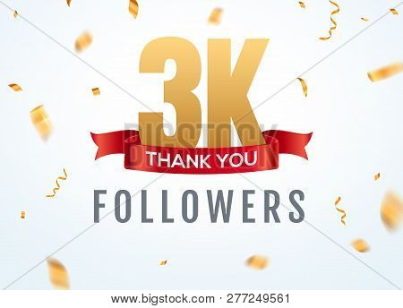 Thank You 3000 Followers Design Template Social Network Number Anniversary. Social 3k Users Golden N