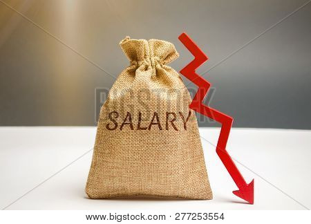 Money Bag With The Word Salary And Arrow To Down. Lower Salary, Wage Rates. Demotion, Career Decline