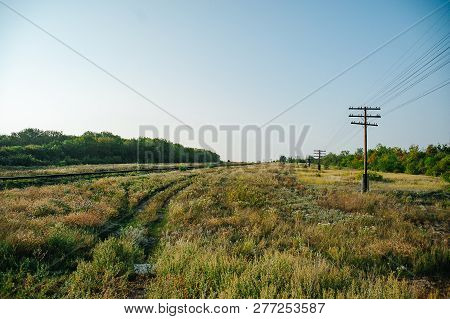 The Road To The Forest. Railway And Ecological Landscape. Soft Focus. Ecology And Environmental Prot