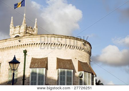 Parliament government office building Gothic architecture national flag Bridgetown Barbados poster