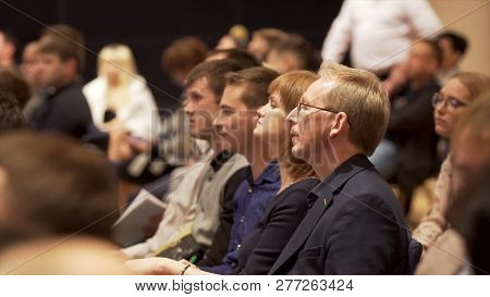 Great Britain - London, 10 December 2018: Close Up For Interested Audience At A Business Seminar Lis