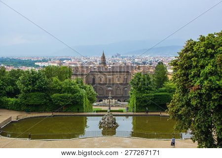 Florence, Italy - May 21, 2018: View On Fountain Of Neptune And Boboli Garden With The Back Facade O