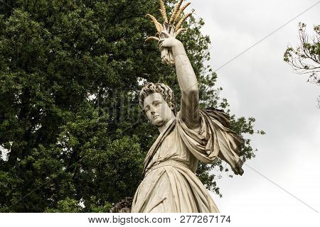 Florence, Italy - May 21, 2018: Statue Of Abundance, In The Boboli Garden. Female Sculpture In White