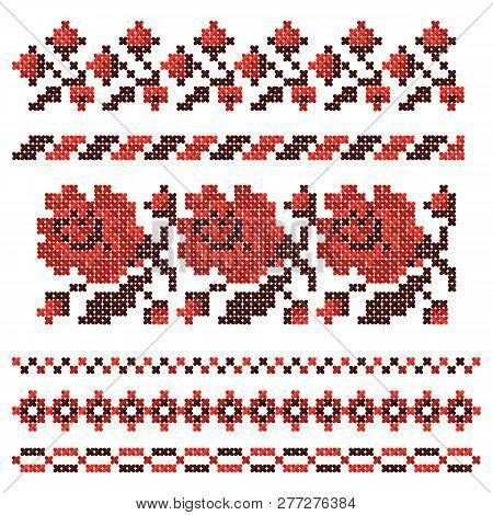 Embroidered Cross-stitch Ethnic Ukrainian Pattern. Vector Illustration.