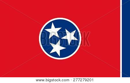 Flat Tennessee State Flag - Usa In The Colors Blue, Red And White