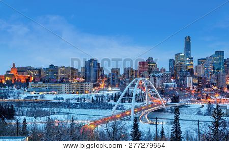 Edmonton Downtown Winter Skyline Just After Sunset Showing Alberta Legislature And Walterdale Bridge