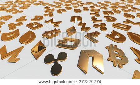 Crypto Currency Gold Symbols On The White Background. 3d Rendering