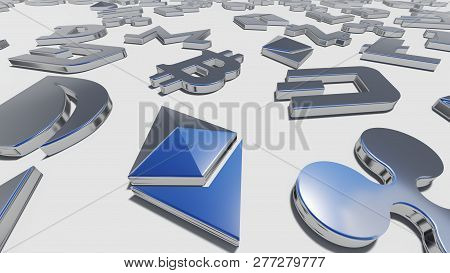 Crypto Currency Silver Symbols On The White Background. 3d Rendering