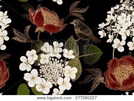 Peonies, Hydrangea And Little Birds. Floral Vintage Seamless Pattern. Bouquets Of Garden Flowers, Le