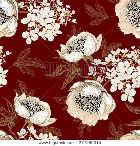 Peonies And Hydrangea. Floral Vintage Seamless Pattern. Gold And White Bouquets Of Flowers, Leaves,