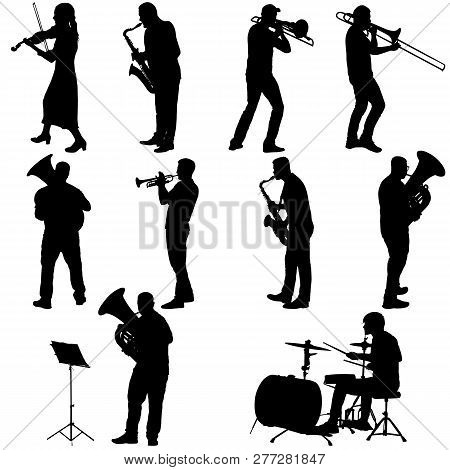 Set Silhouette Of Musician Playing The Trombone, Drummer, Tuba, Trumpet, Saxophone, On A White Backg