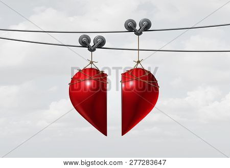 Valentine Love Connection Or Valentines Day Dating And A Couple Joining Together In A Romantic Relat