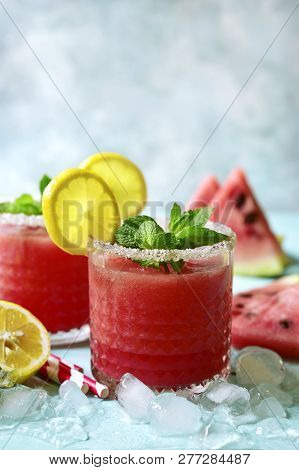 Watermelon Smoothie With Lemon And Mint.
