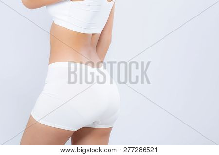 Closeup Bottom Ass Young Asian Woman Beautiful Body Diet With Fit Isolated On White Background, Butt