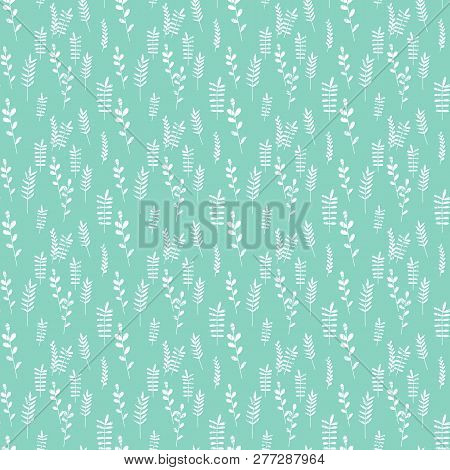 Seamless Pattern Jungle Foliage Plants And Foliage Cute Seamless Pattern. Vector Outline Leaves