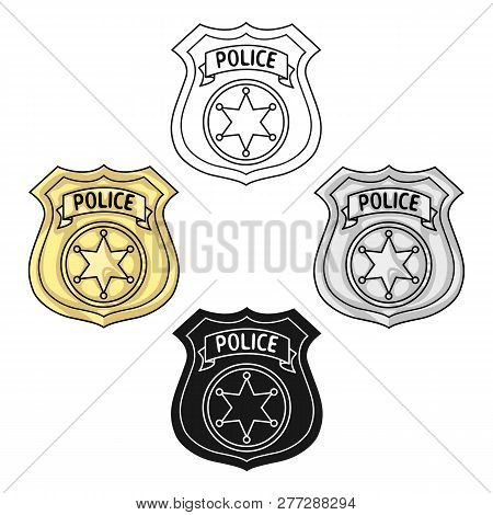 Police Officer Badge Icon In Cartoon Style Isolated On White Background. Crime Symbol Stock Vector I