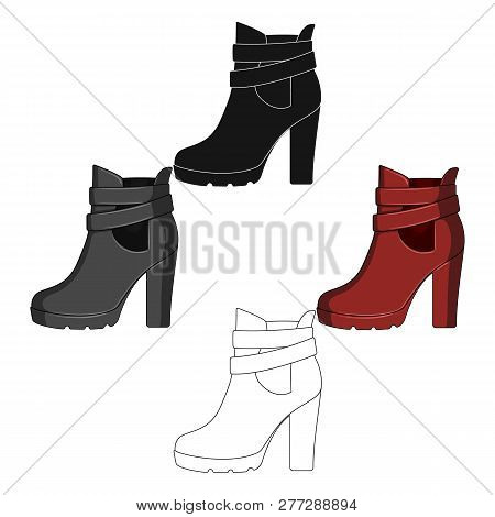 High Women Red Shoes For Everyday Wear .different Shoes Single Icon In Cartoon Style Vector Symbol S