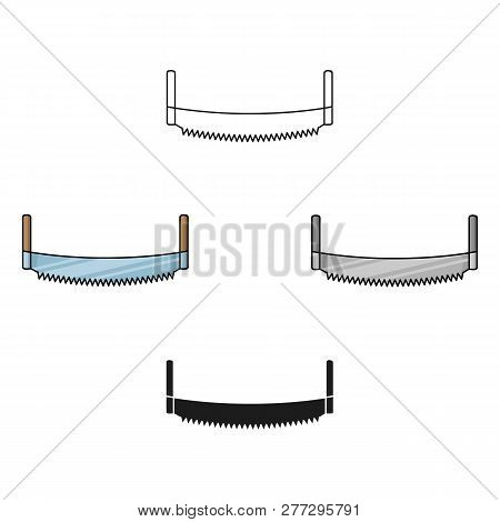 Two-man Saw Icon In Cartoon Style Isolated On White Background. Sawmill And Timber Symbol Stock Vect